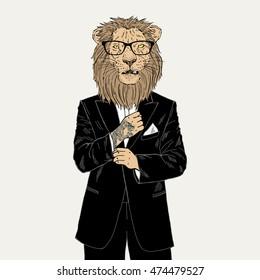 lion dressed up in tuxedo with tattoo, anthropomorphic illustration, fashion animals