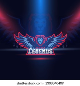 Lion Eagle Wings Esport Logo Template. Jersey Legends. Vector.
