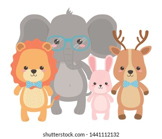 Lion elephant rabbit and reindeeer design