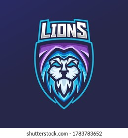 Lion esport gaming mascot logo template for streamer team. esport logo design with modern illustration concept style for badge, emblem and tshirt printing