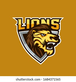 Lion for esport and sport mascot logo vector illustration