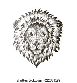 Lion Face with Black Dots isolated on white. Vector Dotwork Illustration. Graphic sketch for tattoo, poster, clothes, t-shirt design. Coloring book for kids and adults.