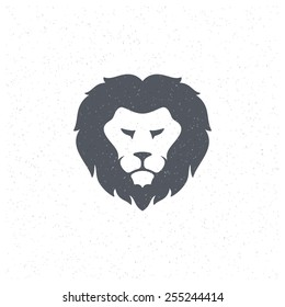 Lion face Design Element in Vintage Style for Logotype, Label, Badge, T-shirts and other design. Sport mascot retro vector illustration.