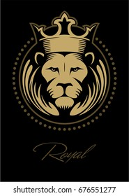 Lion face, lion head with the crown in the circle, vector logo.