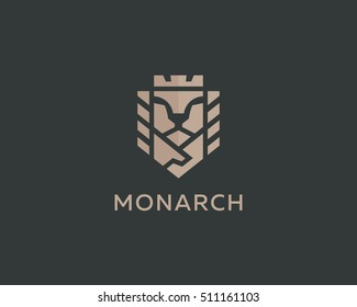 Lion face king vector logotype. Royal handshake deal contract crown luxury logo design. Premium sphinx business symbol.