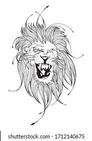 Lion face line art illustrator free hand ink sketch drawing for motif tattoo vector with white background