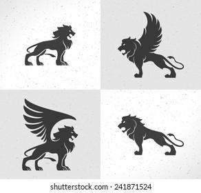 Lion face logo emblem template for business or t-shirt design. Vector Vintage Design Element.