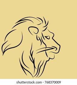 Lion face  profile silhouette