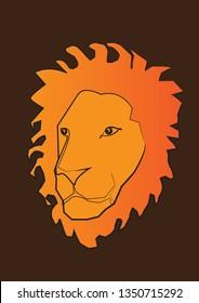 Lion face , T-shart art , lion