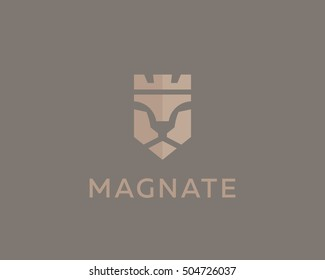 Lion face vector logotype. Luxury logo design. Crown king negative space symbol