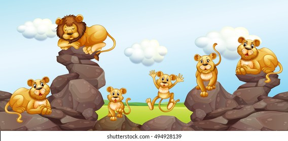 Lion family in the field illustration