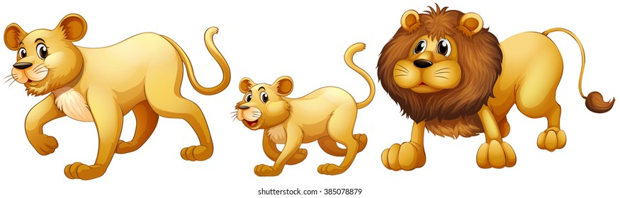 Lion family walking together illustration