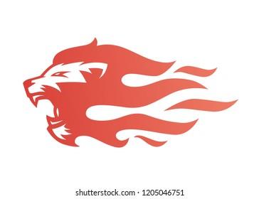 lion fire flame logo vector illustration tattoo
