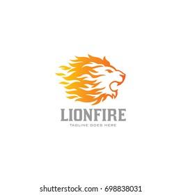 Lion Fire Logo - Flame Lion Vector