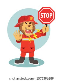lion firefighter stop warning vector illustration