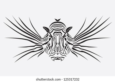 Lion fish. The vector illustration of dangerous coral fish, underwater poisonous predator.