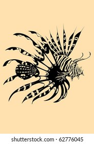 Lion fish. The vector illustration of dangerous coral fish.