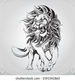 Lion in a floral ornament
