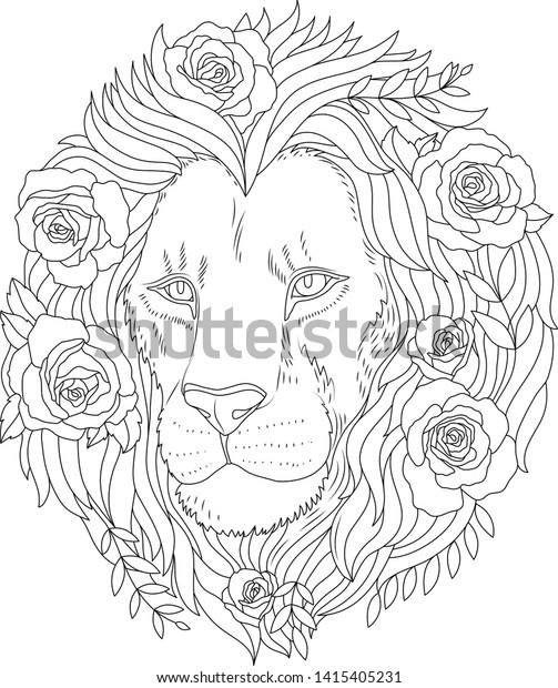 Lion Flowers Coloring Book Illustration Lion Stock Vector
