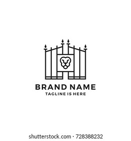 Lion gate lionsgate logo template vector icon illustration