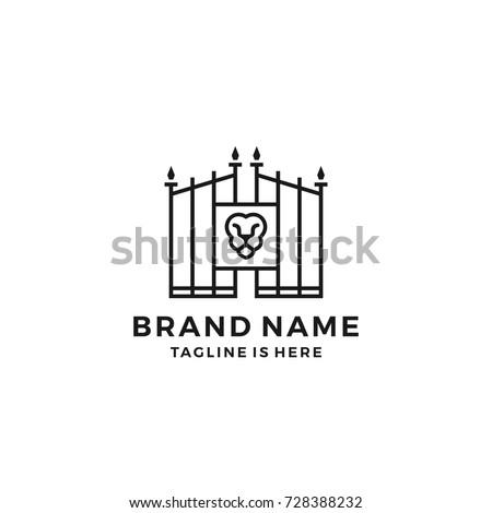 lion gate lionsgate logo template vector のベクター画像素材