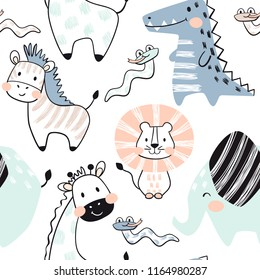 Lion, giraffe, elephant, crocodile, zebra, snake baby seamless pattern. Scandinavian cute print. Cool african animal for nursery t-shirt, kids apparel, invitation cover, simple child design