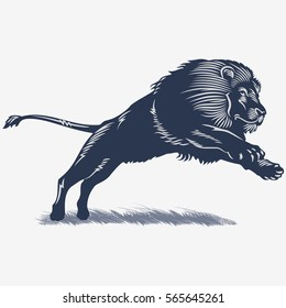 Lion in the grass, in the blue color, illustration, vector