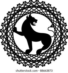 lion griffin crest two pieces