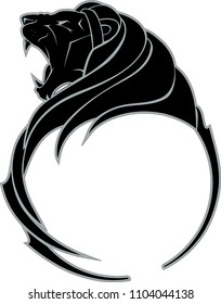 Lion Growl Side View Silhouette