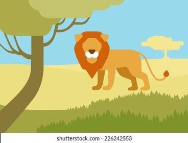 Lion in habitat background flat design cartoon vector wild animals. Flat zoo nature children collection.