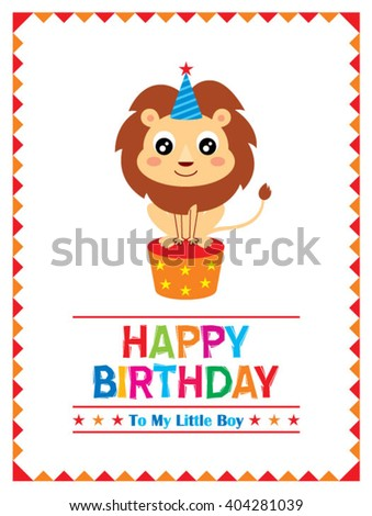 Lion Happy Birthday Greeting Card To A Little Boy