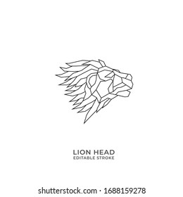 Lion head abstract geometric line art logo icon sign. Editable stroke