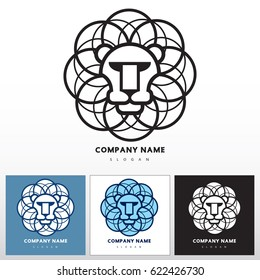 Lion head - abstract vector icon, template for logo design. Graphic illustration of image in a circle. Black, blue colors on white background.