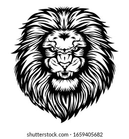 Lion head angry black & white vector illustration