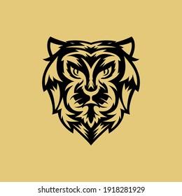 Lion head animal silhouette design vector