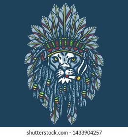 lion head apache illustration   -  Graphic Vector Design Tshirt - vector