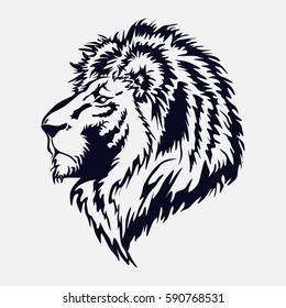 lion head, by the royal cat, the king of beasts, vector image