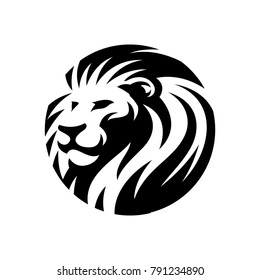 lion head circle icon illustration