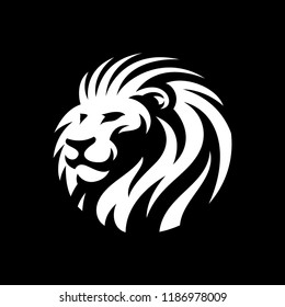 lion head circle illustration in dark background