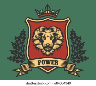 Lion head Coat of Arms with ribbon and oak wreath. Vector illustration