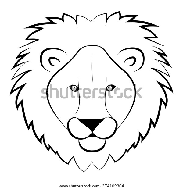 Lion Head Coloring Book Wild Lion Stock Vector Royalty Free