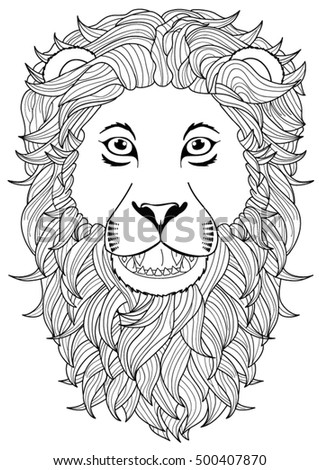 Lion Head Coloring Page   Lion Head Coloring Page Stock Vector Royalty Free 500407870