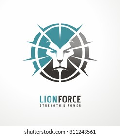 Lion head creative logo design template. King of the jungle symbol layout. Unique icon concept perfect for startup or traditional business.