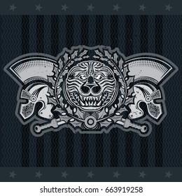 Lion head with crossed swords and laurel wreath between Spartan helmets. Heraldic vintage label on blackboard