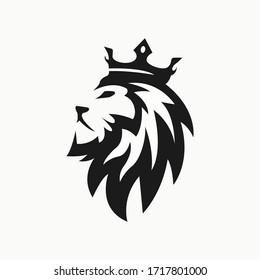 Lion head with crown company logo design
