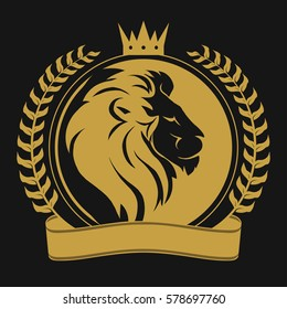 Lion head with crown, laurel wreath and ribbon, logo royal cat profile. Golden luxury emblem. Vector