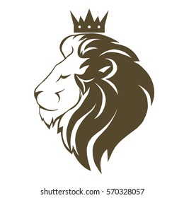 Lion head with crown logo, royal cat profile. Golden luxury emblem. Vector