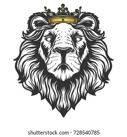 Lion head with crown.Vector illustration.