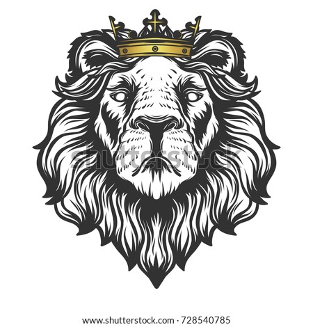Lion Head Crown Vector Illustration Stock Vector Royalty