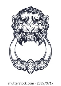 Lion head door knocker. Hand drawn vector illustration isolated